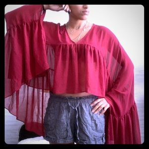 Nasty gal sheer Cape Blouse